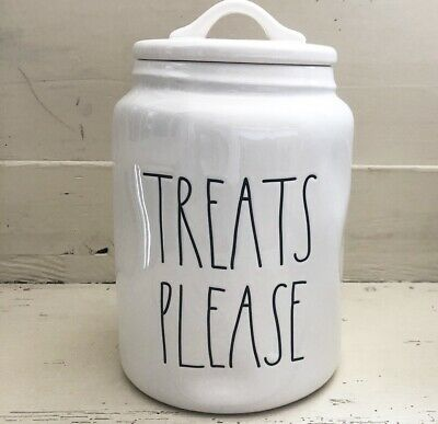 """Rae Dunn Artisan Canister """"TREATS PLEASE"""" New! HTF! *ALWAYS LOW Shipping!* 😀"""