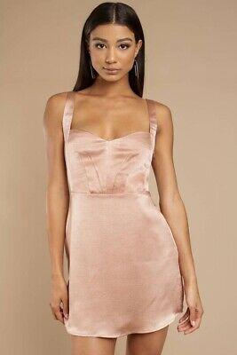 66369bf545c47 Tobi Here And Now Sweetheart Neckline Rose Gold Satin Skater Slip Dress S