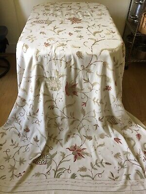 """VINTAGE LINEN Large Hand Made Crewel Bedcover. Natural Cotton & Wool. 100"""" x 70"""""""