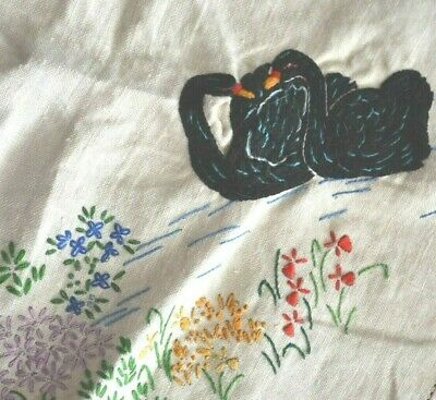 Completed Needlework Art Square Tablecloth Embroidered Australian Black Swan