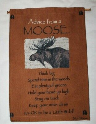 "Advice From a Moose Woven Nature Wall Hanging 17x25"" Lodge Cabin Orange Fabric"