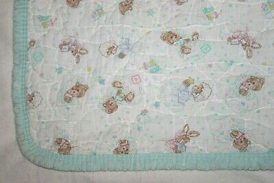 Vintage Riegel Sleepy Teddy Beddy Bear Crib Baby Blanket White Ruffle Green Trim