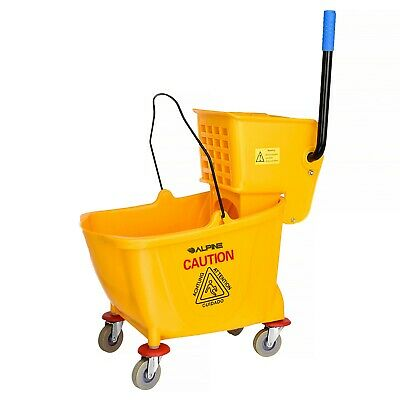 Alpine Industries Yellow 9 Gallon Side Press Mop Bucket with Side Wringer Combo