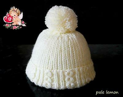 Hand Knitted Newborn Baby PomPom - Bobble Hats in Soft Pale Lemon Wool
