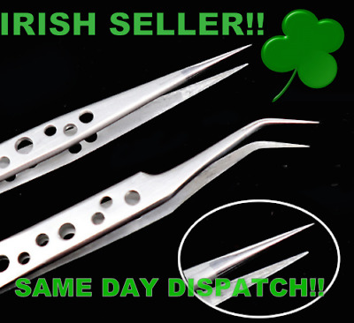 SMD Tweezers Stainless Steel for Cell Phones 2 Pcs 1x Straight 1x Curved kit