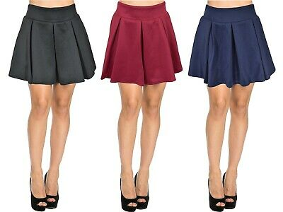 Girls Scuba Skirts Ladies Day Party Box Pleat Women FLare Skater Mini Skirt 6-14