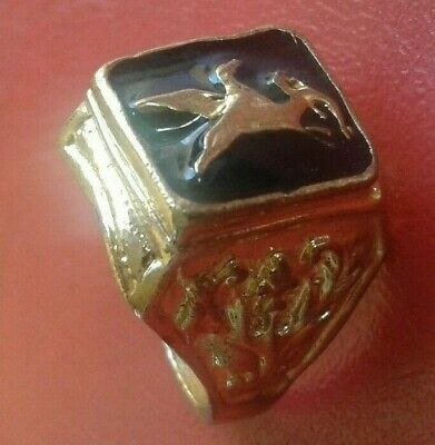 """Ancient Antique Roman Bronze Ring gold color with """"DRAGON"""" Magnificent Artifact"""