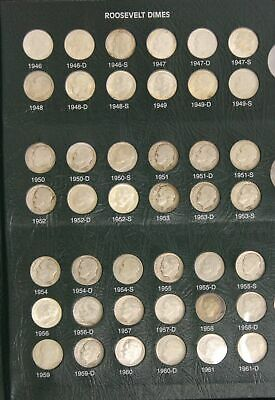 1946-2002 Complete Roosevelt Dime Set-All Silver Proofs-Grades Fine to Gem BU