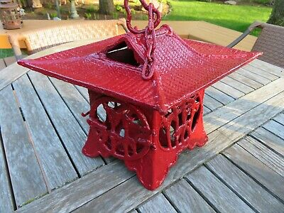 Vintage Antique Japanese Asian Pagoda Cast Iron Candle Garden Lantern Metal Art