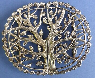 Beautiful Vintage Silver Plated Nurse's Belt Buckle Oak Tree Mid 20th Century