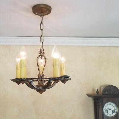 582b Vintage Antique arT Nouveau Ceiling Light Chandelier Fixture entry hall