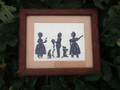 Vintage Sillouette In Original Frame With Original Backing.nice Old Oak Frame.