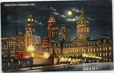 Night View of Baltimore - City Hall, Maryland Causality Tower Building