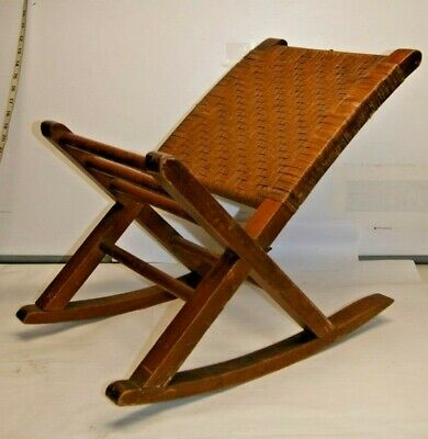 Antique - Vintage - Wood Wicker Gout Rocking Chair Footstool