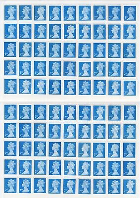 100 x 2ND CLASS UNFRANKED BLUE SECURITY STAMPS WITH GUM ON EASY PEEL SHEET