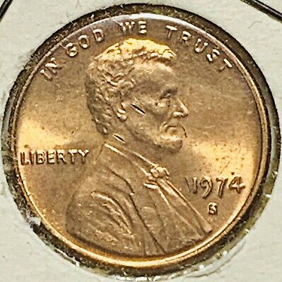 1974 S  Lincoln Memorial Cent Beautiful Red Brilliant Uncirculated (565)