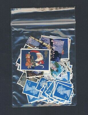 100 x 2ND CLASS UNFRANKED STAMPS OFF PAPER NO GUM MIXED TYPES