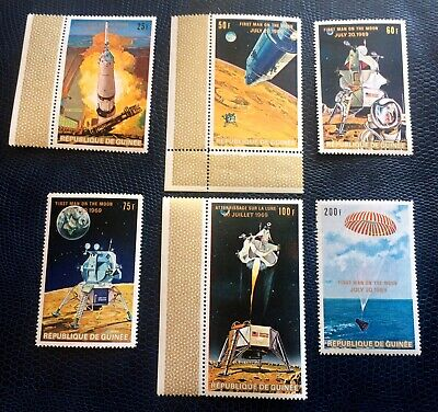 First man on the moon 1969 - 6 top mint stamps Guinea