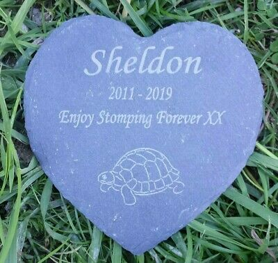 Personalised Engraved Slate Stone Heart Pet Memorial Grave Plaque tortoise