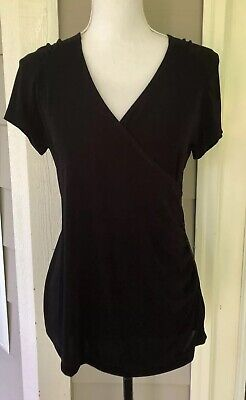 a7cdcf7a Chico's Travelers Black Faux Wrap Knit Short Sleeve Top Stretch Slinky Size  1
