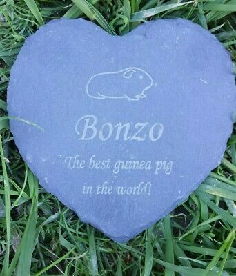 Personalised Engraved Slate Heart Pet Memorial Grave Plaque straight Guinea pig