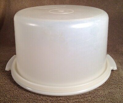 "Vintage Tupperware Sheer 10"" Cake Taker #684 With Lid #683, No Handle, Excellent"