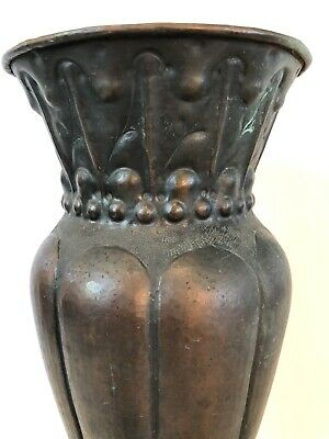 "Antique Arts & Crafts Hammered Copper Vase Lillian Palmer ? 13"" Tall"