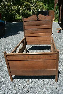 Antique Unique Victorian ? Wooden Child Toddler Bed w/ Hinged Drop Rail Side VA