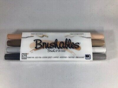 ZIG Memory System Brushables Dual-Tip Markers 4/Pkg-Brown