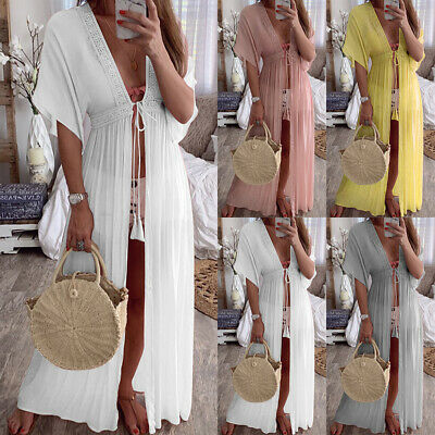 689ccf8f6a Women Boho Lace Sheer Bikini Cover Up Beach Summer Long Kaftan Kimono Maxi  Dress