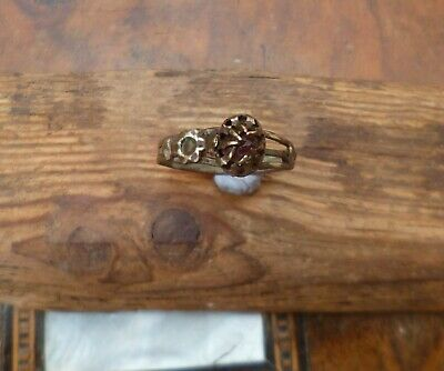 Gorgeous Post Medieval Ring With Rose and Red Glass-Metal Detecting Find