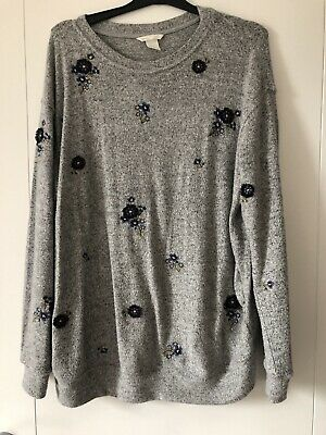 H&M Mama Grey Embroidered Maternity Jumper Size L