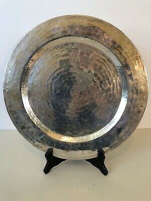 Antique Mission Arts & Crafts Hammered Copper Silver Plated Charger Plate 12""