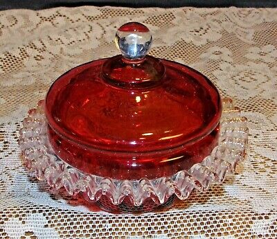 Antique Cranberry Glass covered candy dish / powder box  Applied Rigaree Trim