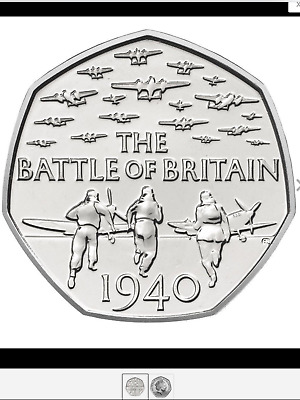 UNCIRCULATED BATTLE OF BRITAIN  1940... 50p coin.. RARE FIFTY PENCE