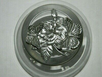 Vintage 1991 Butterfly Pewter Lid Seagull Canada Glass Potpourri Bowl Jar