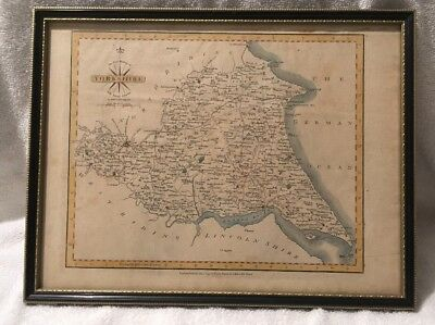 Framed Antique Map Of East Riding Of Yorkshire By John Cary - 1793