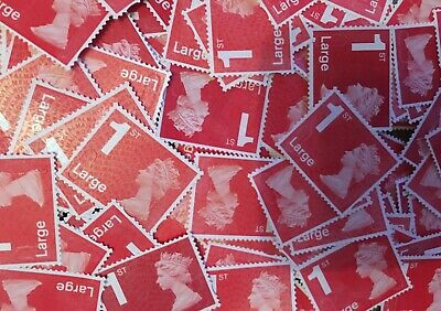 100 x UNFRANKED 1st CLASS LARGE RED  STAMPS OFF PAPER (NO GUM) FACE VALUE £106