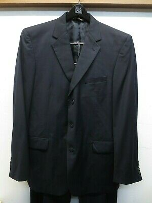EUC Jos A Bank Signature Collection Mitchell Navy Wool 3 Button Suit 44L/39X33
