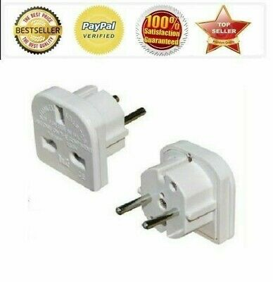 2 x UK to EU Europe Power Adaptor Plug Converter Travel Adapter European 2 Pin