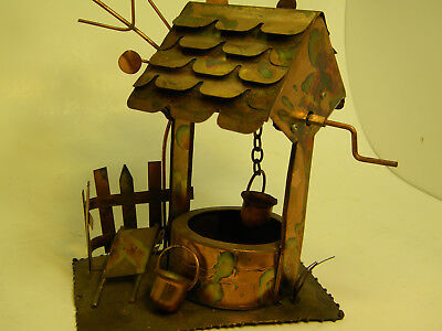 Collectible Vintage Brass Copper Tin Music Box  Wishing Well, 7 x 8 inches