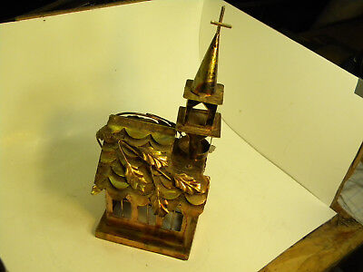 "Vintage Brass Copper Tin Music Box  Church  ""Amazing Grace"". Collectible"