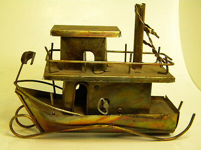 Vintage Brass Copper Music Box Steam Boat  Collectible Romantic