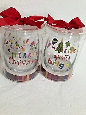Stemless Wine Glasses Set of 2 Merry Christmas Making Spirits Bright Colorful