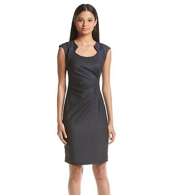 3cbb734b CALVIN KLEIN ~Size 10~ Ruched Horseshoe Neckline Denim Sheath Dress New!