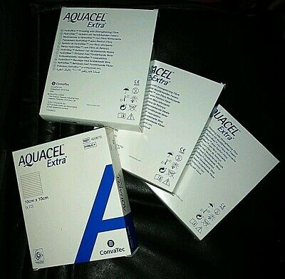 40 [4 BOXES of 10] Aquacel Extra Wound Dressings 10x10cm 420672 Ulcers Burns NEW