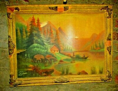 Original Oil Painting Landscape Signed Antique Vintage Style With Frame wood