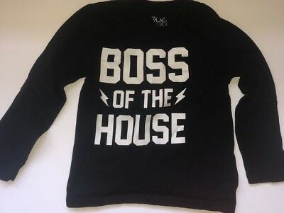 Boss of the House Children's Place Long Sleeve Shirt Black White Graphic 2T