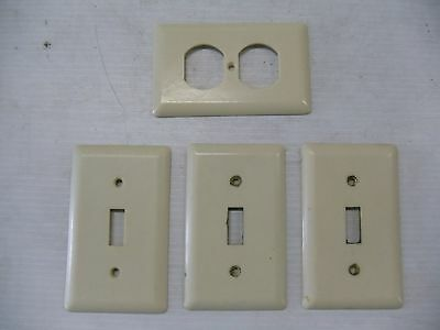 4 Old Vintage Switch Outlet Covers Plates Bakelite Ge Ivory     N