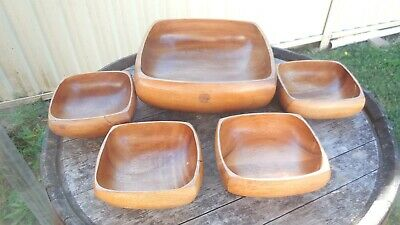 5 x Retro Wooden Bowls - 1 Large & 4 Small - Vintage - Party Fruit bowl 1970s